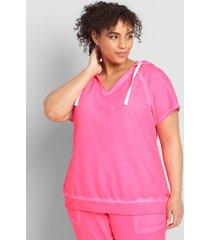 lane bryant women's livi short-sleeve hooded sweatshirt 22/24 knockout pink