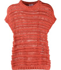 brunello cucinelli open-knit cotton top - orange