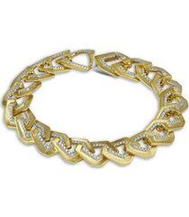 origami brushed link no.5 diamond bracelet