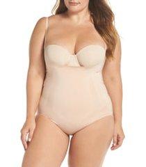 plus size women's spanx oncore open bust shaper bodysuit, size 3x - beige