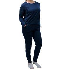 conjunto de pijama longo touro boots feminino azul - kanui