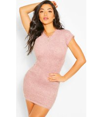 fluffy knit open back bodycon dress, rose