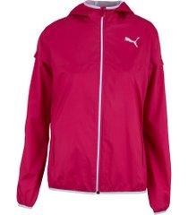 jaqueta corta-vento com capuz puma essentials solid windbreaker - feminina - rosa