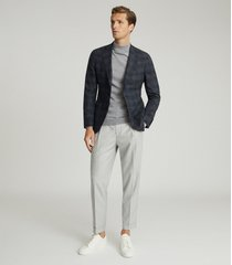 reiss chay - checked slim fit blazer in navy, mens, size 46