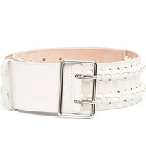 woman light ivory military belt with knots