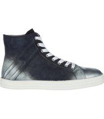 scarpe sneakers alte donna in camoscio r141