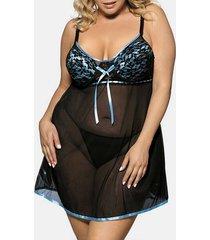 plus size sheer mesh lingerie babydoll set