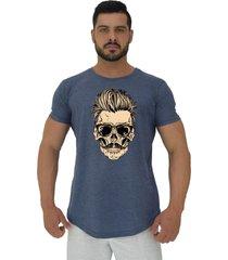 camiseta longline alto conceito caveira cabelo estiloso mescla marinho - azul marinho - masculino - algodã£o - dafiti