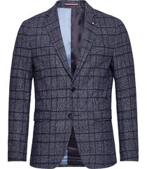 soft constr slim fit chk blz blazer colbert blauw tommy hilfiger tailored