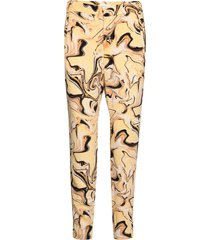 nica no rib printed pant pantalon met rechte pijpen geel inwear