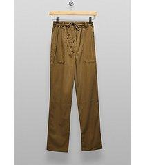 tall khaki slouch trousers - khaki