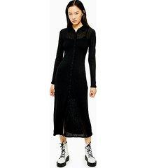 black ribbed cardigan midi dress - black