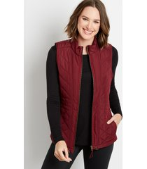 maurices womens berry zip up vest red