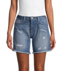 mid-rise denim bermuda shorts