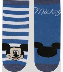 kit de 2 meias infantis cano médio mickey azul