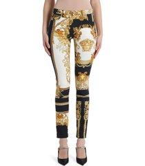 women's versace renaissance print skinny jeans, size 29 - black