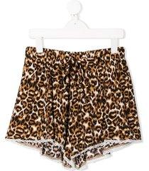 caffe' d'orzo teen leopard print shorts - neutrals
