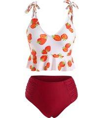 tied shoulder strawberry print ruched peplum tankini swimwear