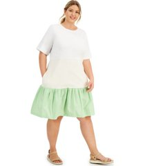 alfani plus size mixed-media dress, created for macy's