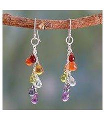 garnet and carnelian cluster earrings, 'vibrancy' (india)