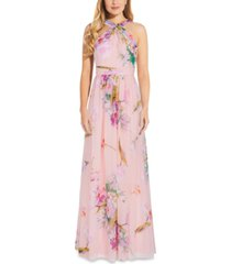 adrianna papell floral-print halter gown