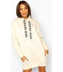 hooded slogan tape sweatshirt dress, nude