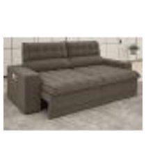 sofá omega 2,00m assento retrátil e reclinável velosuede marrom - netsofas