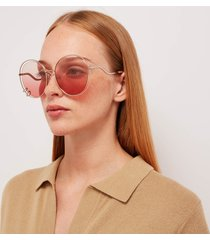 chloé women's wendy round frame sunglasses - rose gold/gradient rose
