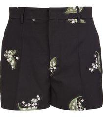 red valentino black/green/white virgin wool blend may lily jacquard shorts