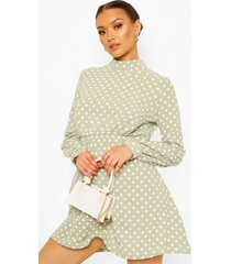 high neck polka dot skater dress, sage