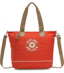 cartera shopper c naranja kipling