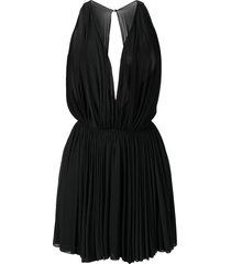 alaïa pre-owned 1990's sheer pleated mini dress - black