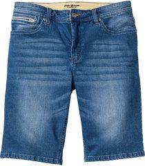 stretchiga jeansbermudas, smal passform