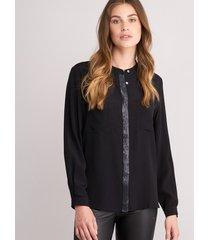 blouse met borstzaken en pailletten