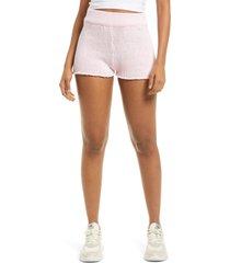 women's guess sweater knit cotton blend shorts, size x-small - pink