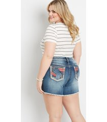 plus size vigoss® womens high rise medium wash americana pocket 6in shorts blue - maurices