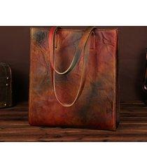 donna vintage borsa a mano in pelle vera a manufatto con grande capacità shopping bag