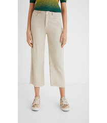100% lyocell cropped culotte trousers - white - 42