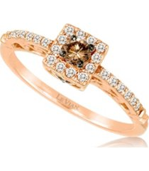 chocolate diamonds (1/6 ct. t.w.) and vanilla diamonds (1/6 ct. t.w.) ring in 14k rose gold
