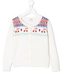 bonpoint bead embroidered cardigan - white