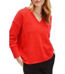women's eileen fisher v-neck boxy organic cotton & linen sweater, size large - orange