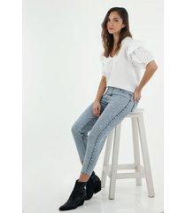 jean para mujer topmark, jeans moda plano cintura con pretina