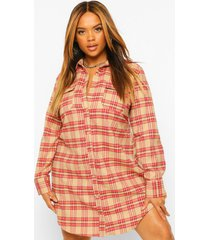 plus geruite boyfriend blouse jurk, tan