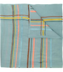 janavi india horizontal stripes cashmere scarf - blue