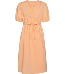 srfika wrap dress knälång klänning orange soft rebels