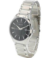 bulova men's classic standard stainless steel bracelet watch - grey