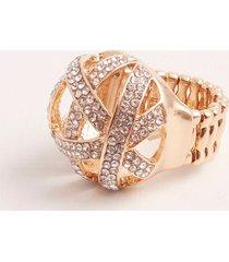 anillo redondo cerrado con cristales. dorado uni