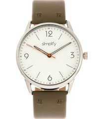 simplify quartz the 6300 white dial, genuine olive leather watch 41mm