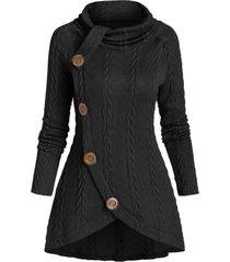 raglan sleeve turtleneck cable knit sweater