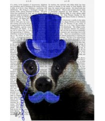 "fab funky badger with blue top hat and moustache canvas art - 27"" x 33.5"""